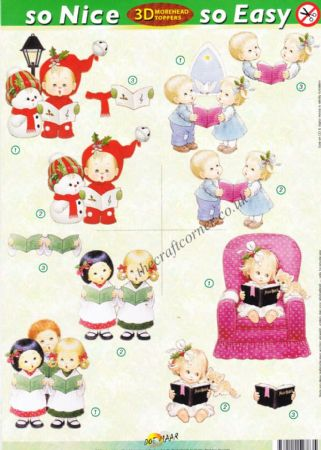 Christmas Children Carol Singing So Nice, So Easy Morehead 3D Die Cut Decoupage Sheet